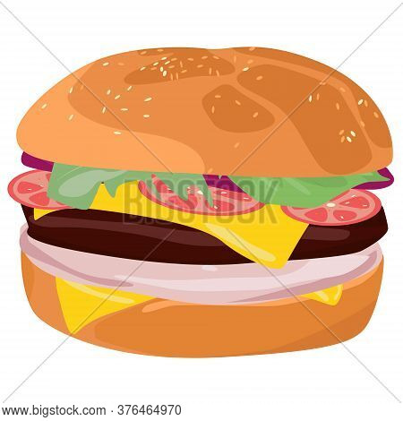 Burger On White Background. Food Logo. American Food. Fastfood