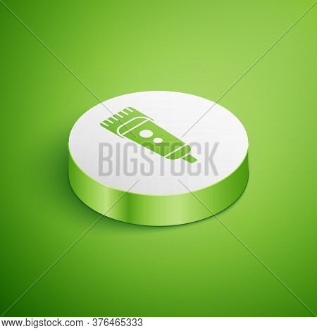 Isometric Electrical Hair Clipper Or Shaver Icon Isolated On Green Background. Barbershop Symbol. Wh