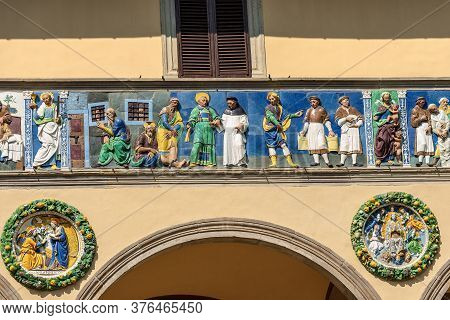 Pistoia, Tuscany, Italy - Mar 26, 2016: Detail Of The Ospedale Del Ceppo With The Famous Colorful Ce