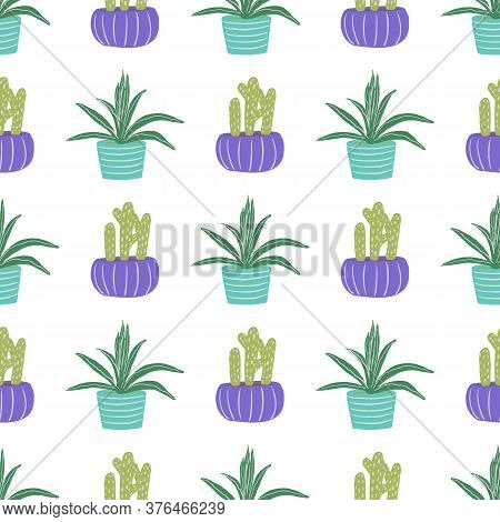 Hand Drawn Potted Plants Seamless Pattern. Cactuses And Succulents Flat Doodle Illustration. Surface
