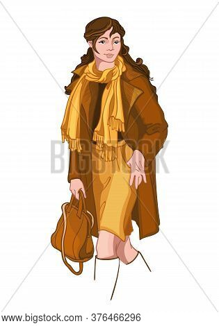 Young Brunette Woman Dressed In Yellow And Brown Autumn Clothes