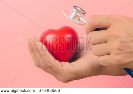 Close Up Hand Using Stethoscope Is Checking A Heart. Concepts A Physical Examination For Health Care