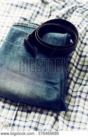 Close Up Of Jeans Trousers. Fashion Background.