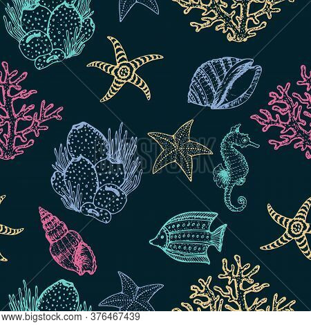 Sea Creatures Hand Drawn Seamless Pattern. Ocean Animals And Seashells Sketch Surface Texture. Vecto