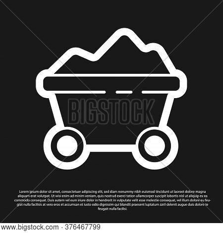 Black Coal Mine Trolley Icon Isolated On Black Background. Factory Coal Mine Trolley. Vector Illustr