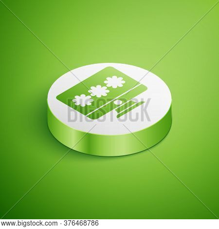 Isometric Monitor With Password Notification Icon Isolated On Green Background. Security, Personal A