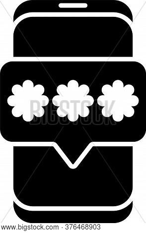 Black Mobile And Password Protection Icon Isolated On White Background. Security, Safety, Personal A
