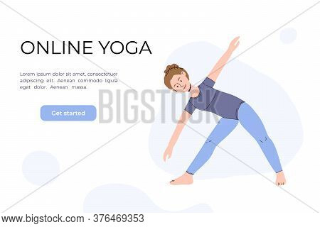 The Girl Does Yoga In The Video. Yoga Classes Online. Vector Illustration In A Flat Style. Woman In
