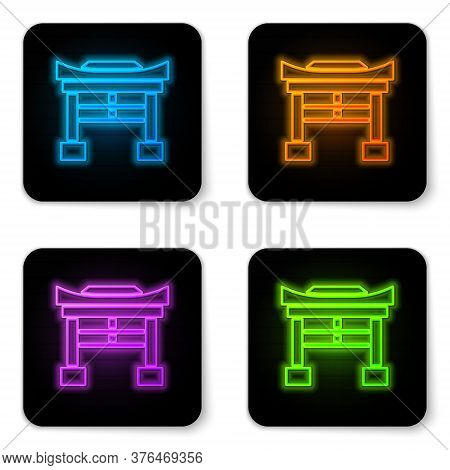 Glowing Neon Japan Gate Icon Isolated On White Background. Torii Gate Sign. Japanese Traditional Cla
