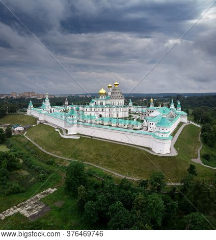 Istra New Jerusalem Monastery In Moscow Region, Russia. Aerial Drone View Of Orthodox Cathedral Fort