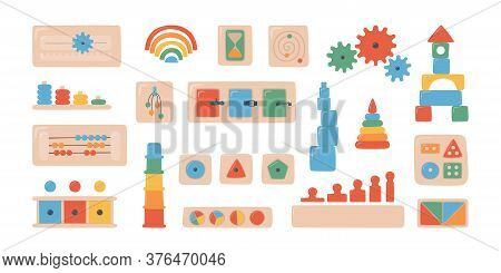 Montessori Kid Toys And Boards. Wooden Toys For Preschool Children. Montessori System For Early Chil