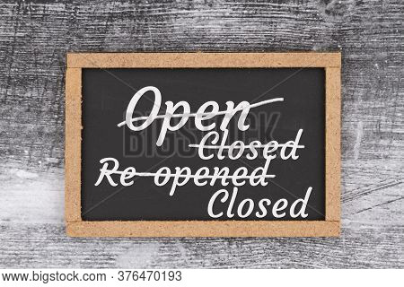 Open And Closed Sign On A Chalkboard Sign On Weathered Wood For Covid-19