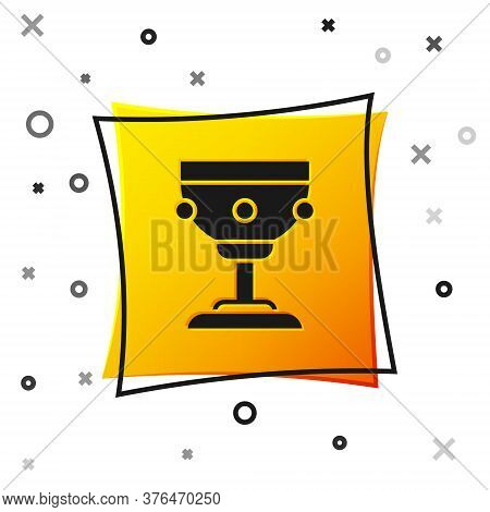 Black Christian Chalice Icon Isolated On White Background. Christianity Icon. Happy Easter. Yellow S