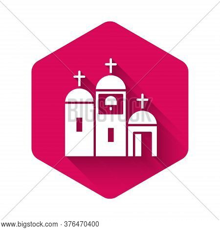 White Church Building Icon Isolated With Long Shadow. Christian Church. Religion Of Church. Pink Hex