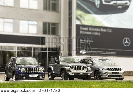 Kiev, Ukraine - April 21, 2020: Three Suvs Jeep In The City. Jeep Wrangler And Jeep Renegade