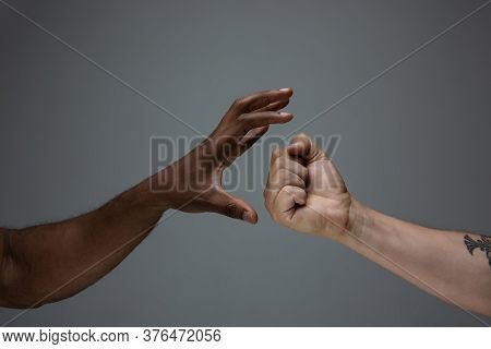 Stop Accusation. Racial Tolerance. Respect Social Unity. African And Caucasian Hands Gesturing On Gr