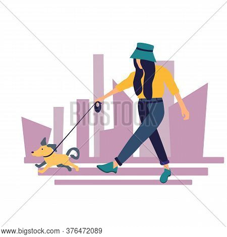 Stock Vector Illustration Of A Young Girl Who Walks A Dog.girl And Little Dog. Girl With A City Back