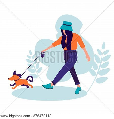 Walking With Pet. Best Friend Concept. Illustration Of Girl And Dog Silhouettes. Happy Girl Play Fun