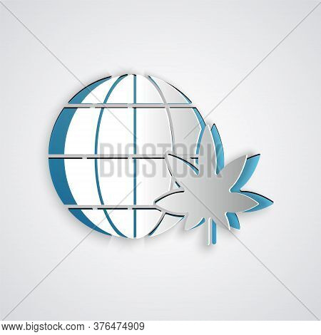 Paper Cut Legalize Marijuana Or Cannabis Globe Symbol Icon Isolated On Grey Background. Hemp Symbol.