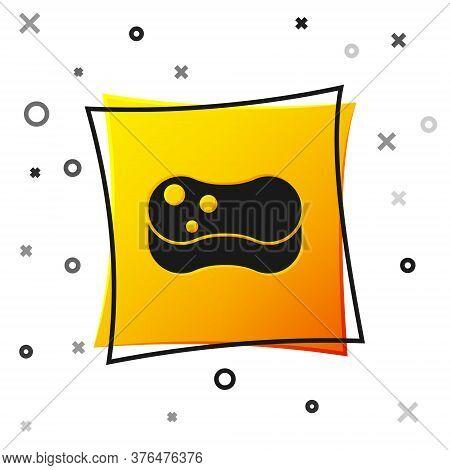 Black Sponge Icon Isolated On White Background. Wisp Of Bast For Washing Dishes. Cleaning Service Co