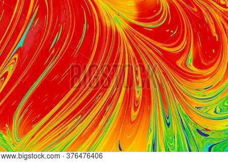 Grunge Abstract Paint As Marbling Patterns On Colorful Background