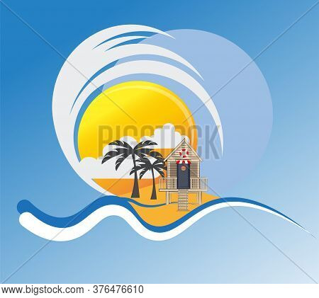 Beach Hut On A Tropical Island Vector Drawing