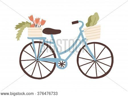 Cute Hand Drawn Bicycle Or Bike Isolated On White Background. Urban Eco Friendly Pedal Transport Car