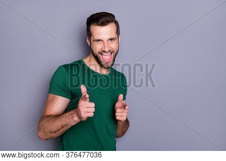 Photo Of Attractive Handsome Guy Good Mood Direct Fingers Forward Pick Select Person Candidate New V