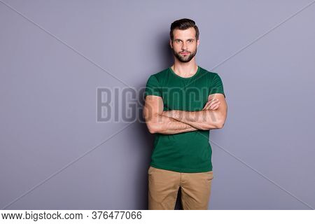 Photo Of Attractive Guy Business Man Macho Appearance Neat Hairdo Bristle Smiling Good Mood Arms Cro
