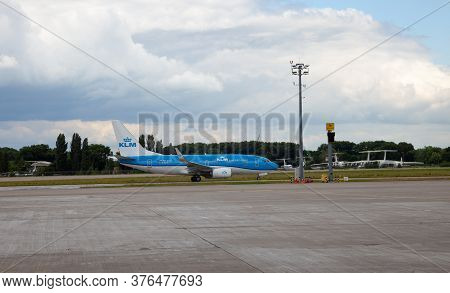 Ukraine, Kyiv - July 8, 2020: Passenger Aircraft. Plane Ur-dnr Windrose Airlines Embraer Erj-145. Bo