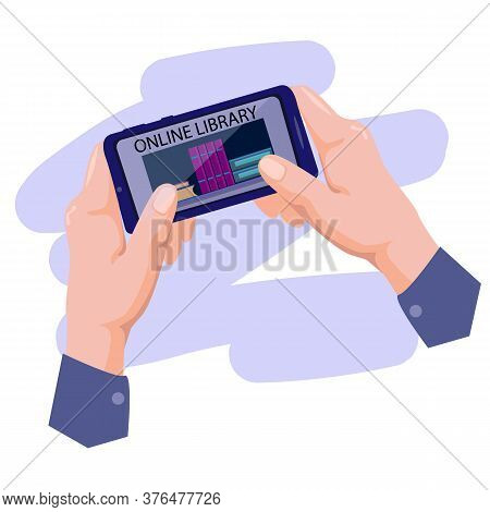 Online Library For Reading,hand Holding Smartphone With Electronic Book Store Application. Digital T