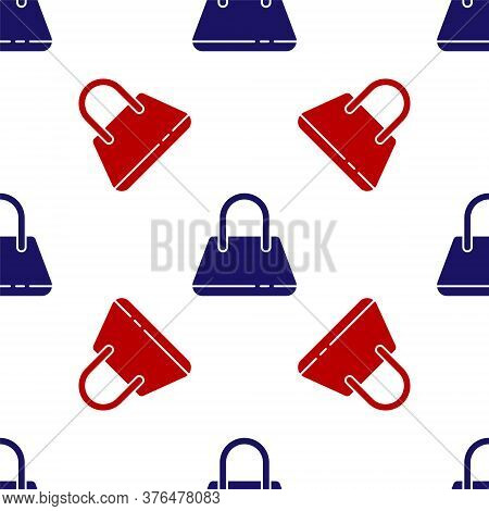 Blue And Red Handbag Icon Isolated Seamless Pattern On White Background. Female Handbag Sign. Glamou