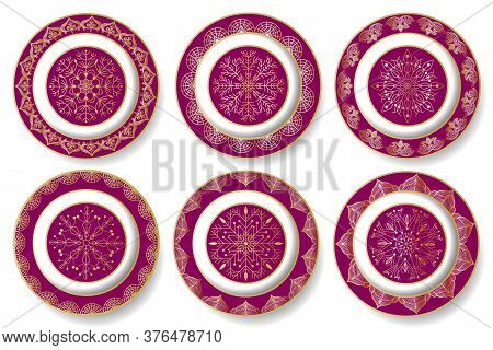Set Of Plates With Golden Decor.vector Set Of Plates With Gold Ornaments.