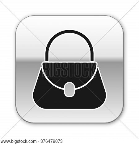 Black Handbag Icon Isolated On White Background. Female Handbag Sign. Glamour Casual Baggage Symbol.