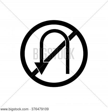 No U Turn Outline Icon. Symbol, Logo Illustration For Mobile Concept And Web Design.