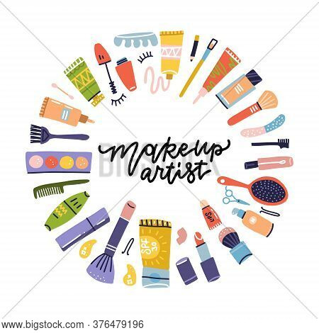 Beauty Shop Cosmetic Label Doodle Frame For Makeup Artist. Lipstick And Shampoo, Powder And Mascara,