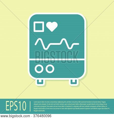 Green Computer Monitor With Cardiogram Icon Isolated On Yellow Background. Monitoring Icon. Ecg Moni