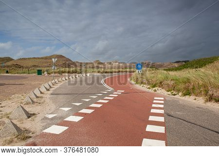 Empty Parking Place Without Foreign Tourists After The Coronavirus Pandemic. Hargen Aan Zee, Netherl