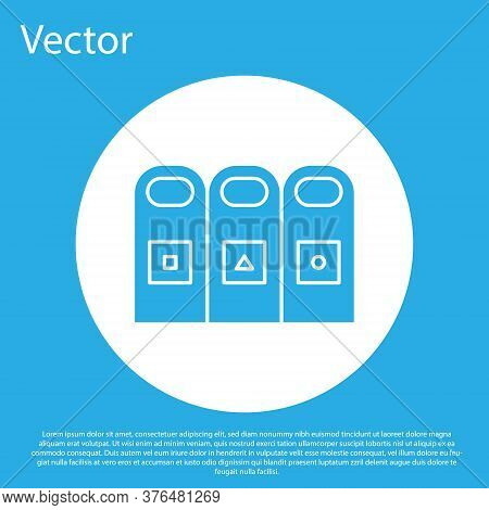 Blue Trash In Garbage Cans With Sorted Garbage Icon Isolated On Blue Background. Recycle Basket Icon