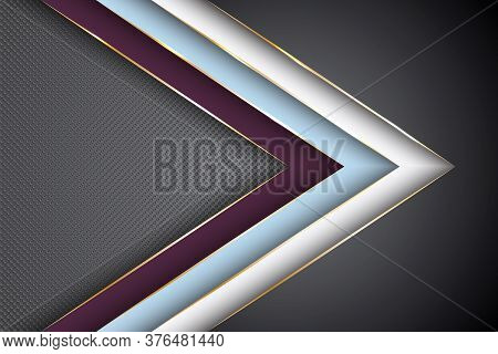 Polygonal Arrow With Gold Triangle Edge Lines Banner Vector Design. Chic Poster Background Template.