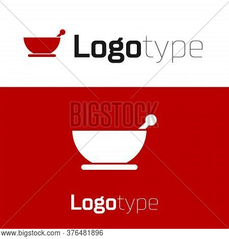 Red Mortar And Pestle Icon Isolated On White Background. Logo Design Template Element. Vector Illust