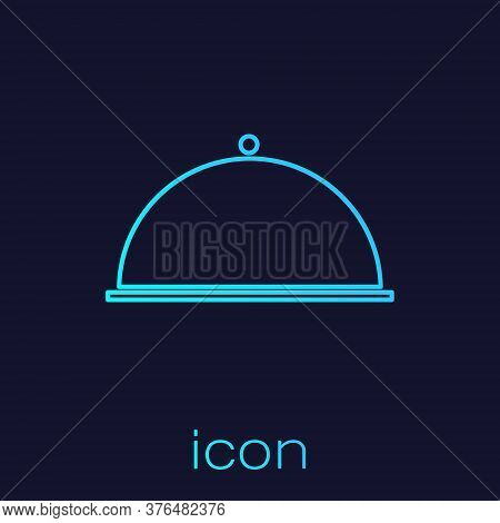 Turquoise Line Covered With A Tray Of Food Icon Isolated On Blue Background. Tray And Lid. Restauran