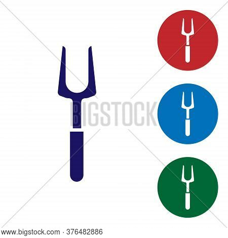 Blue Barbecue Fork Icon Isolated On White Background. Bbq Fork Sign. Barbecue And Grill Tool. Set Ic
