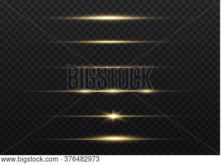 Yellow Horizontal Lens Flares Pack. Laser Beams, Horizontal Light Rays. Beautiful Light Flares. Glow