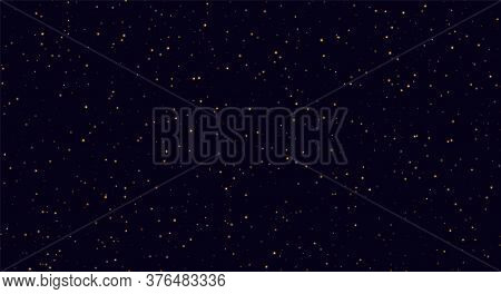 Abstract Night Sky, Yellow Sparkles On A Dark Blue Background. Fireflies Flying In The Darkness.