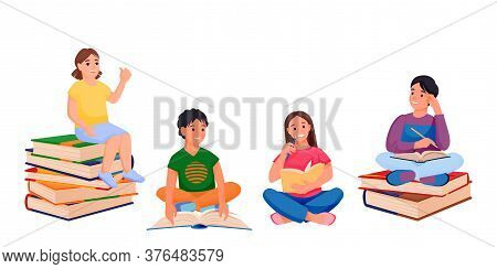 Kids Reading Books And Sitting On Book Stacks. Back To School, Education Design Elements. Vector Chi