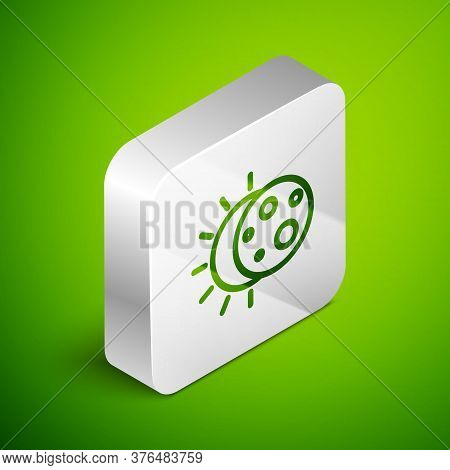 Isometric Line Eclipse Of The Sun Icon Isolated On Green Background. Total Sonar Eclipse. Silver Squ