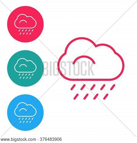 Red Line Cloud With Rain Icon Isolated On White Background. Rain Cloud Precipitation With Rain Drops