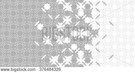 Grey Halftone Arabesque Vector Border. Arabesque Vector Seamless Pattern. Geometric Halftone Texture