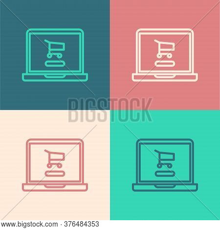Pop Art Line Shopping Cart On Screen Laptop Icon Isolated On Color Background. Concept E-commerce, E